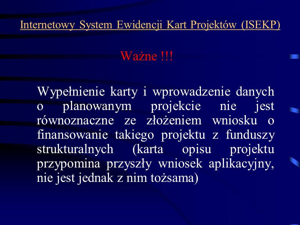 Internetowy System Ewidencji Kart Projektów (ISEKP)
