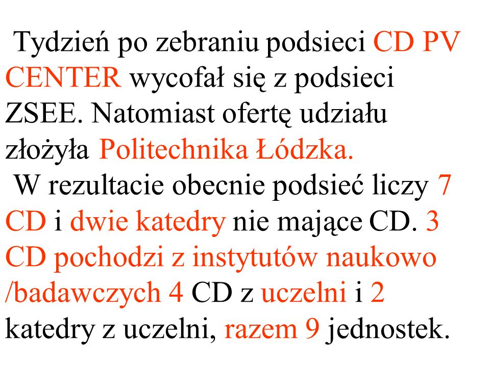 Tydzień po zebraniu podsieci CD PV CENTER wycofał się z podsieci ZSEE