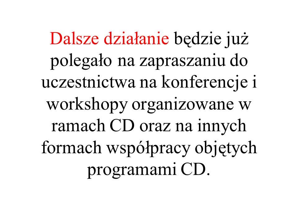 Dalsze działanie będzie już polegało na zapraszaniu do uczestnictwa na konferencje i workshopy organizowane w ramach CD oraz na innych formach współpracy objętych programami CD.