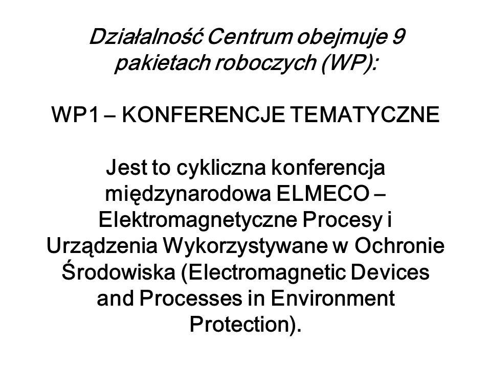Działalność Centrum obejmuje 9 pakietach roboczych (WP): WP1 – KONFERENCJE TEMATYCZNE Jest to cykliczna konferencja międzynarodowa ELMECO – Elektromagnetyczne Procesy i Urządzenia Wykorzystywane w Ochronie Środowiska (Electromagnetic Devices and Processes in Environment Protection).