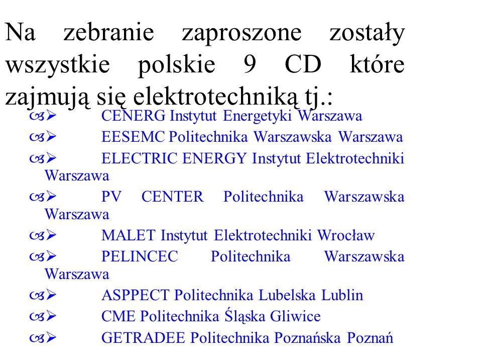 Na zebranie zaproszone zostały wszystkie polskie 9 CD które zajmują się elektrotechniką tj.:
