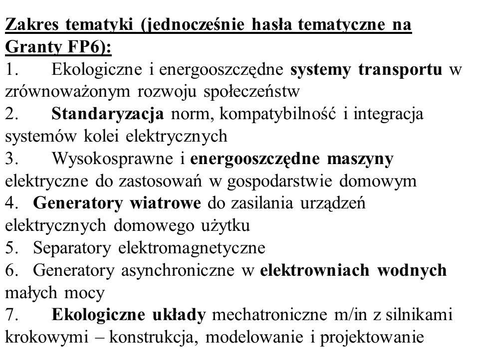 Zakres tematyki (jednocześnie hasła tematyczne na Granty FP6): 1
