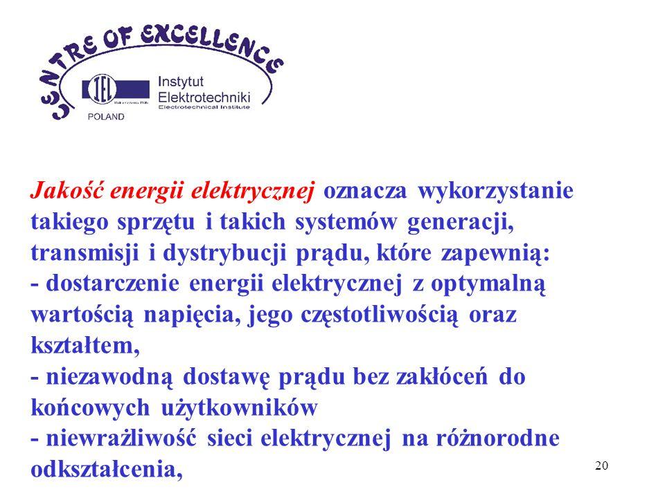 Jakość energii elektrycznej oznacza wykorzystanie takiego sprzętu i takich systemów generacji, transmisji i dystrybucji prądu, które zapewnią:
