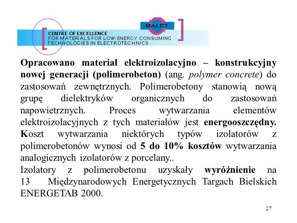 Opracowano materiał elektroizolacyjno – konstrukcyjny nowej generacji (polimerobeton) (ang. polymer concrete) do zastosowań zewnętrznych. Polimerobetony stanowią nową grupę dielektryków organicznych do zastosowań napowietrznych. Proces wytwarzania elementów elektroizolacyjnych z tych materiałów jest energooszczędny. Koszt wytwarzania niektórych typów izolatorów z polimerobetonów wynosi od 5 do 10% kosztów wytwarzania analogicznych izolatorów z porcelany..