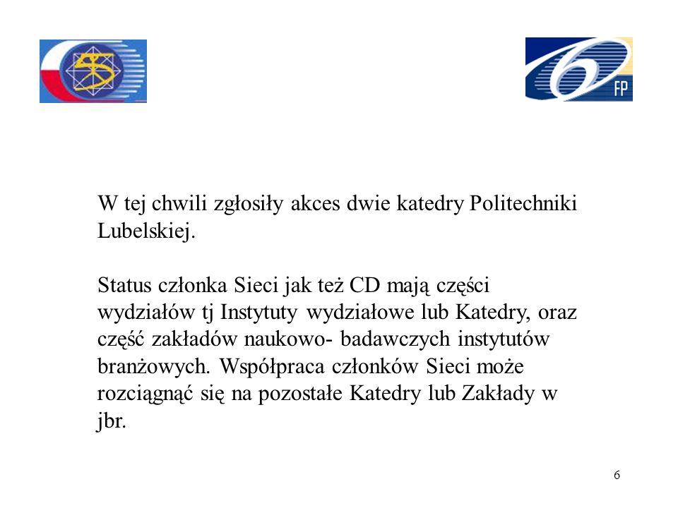 W tej chwili zgłosiły akces dwie katedry Politechniki Lubelskiej.