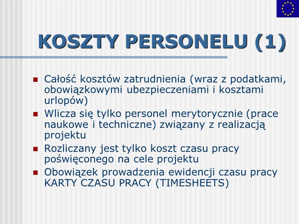 KOSZTY PERSONELU (1) Całość kosztów zatrudnienia (wraz z podatkami, obowiązkowymi ubezpieczeniami i kosztami urlopów)