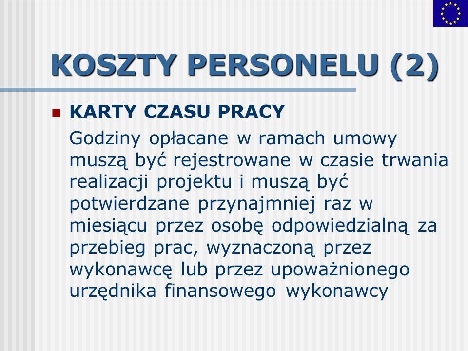 KOSZTY PERSONELU (2) KARTY CZASU PRACY