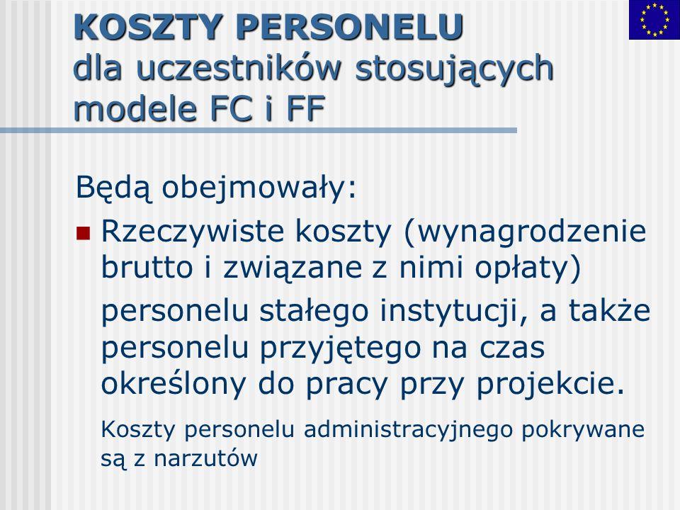 KOSZTY PERSONELU dla uczestników stosujących modele FC i FF