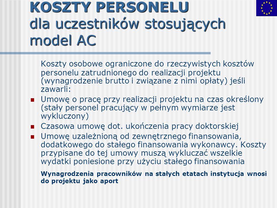 KOSZTY PERSONELU dla uczestników stosujących model AC