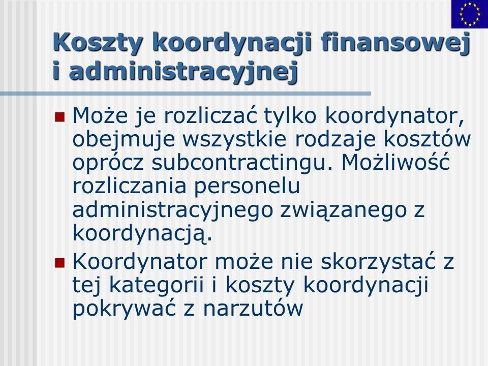 Koszty koordynacji finansowej i administracyjnej