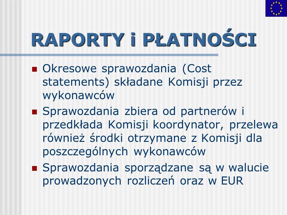 RAPORTY i PŁATNOŚCI Okresowe sprawozdania (Cost statements) składane Komisji przez wykonawców.