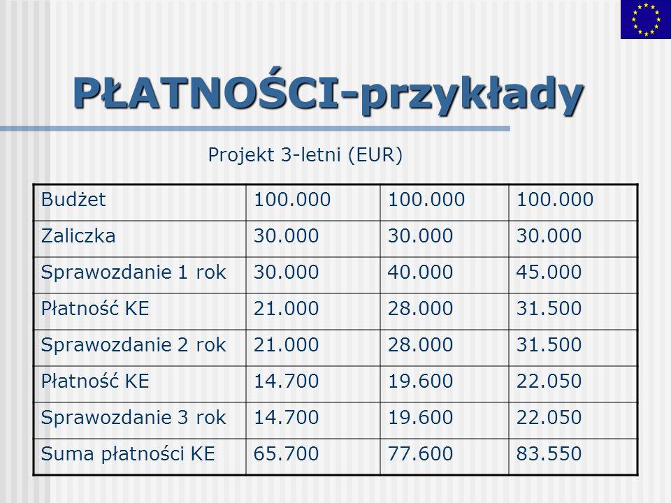 PŁATNOŚCI-przykłady Projekt 3-letni (EUR) Budżet 100.000 Zaliczka