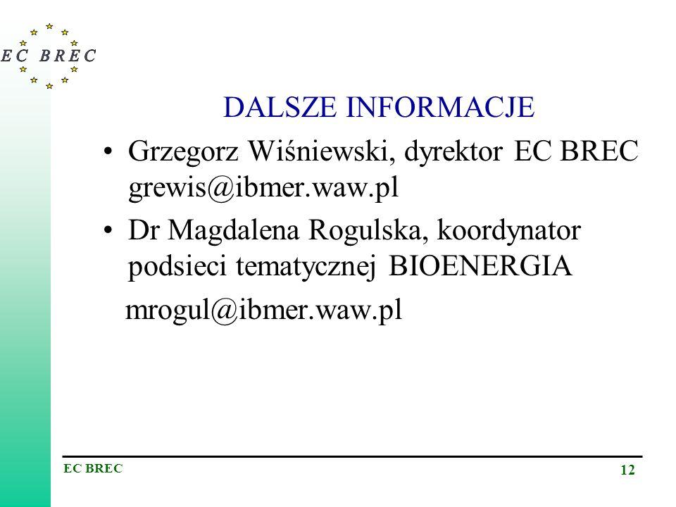 DALSZE INFORMACJE Grzegorz Wiśniewski, dyrektor EC BREC grewis@ibmer.waw.pl. Dr Magdalena Rogulska, koordynator podsieci tematycznej BIOENERGIA.
