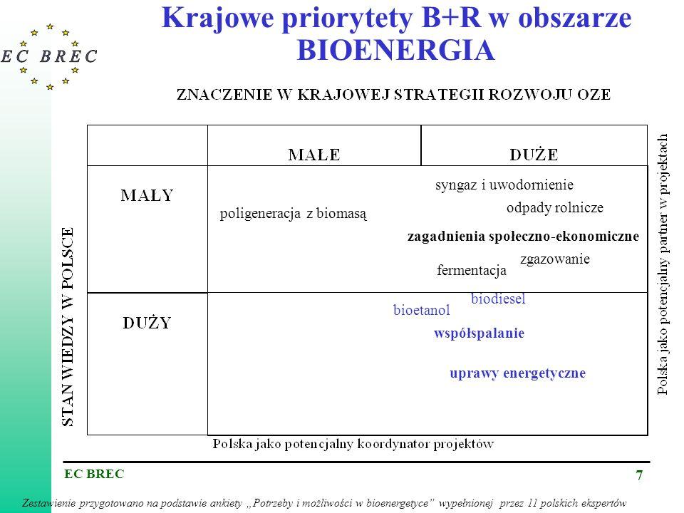 Krajowe priorytety B+R w obszarze BIOENERGIA