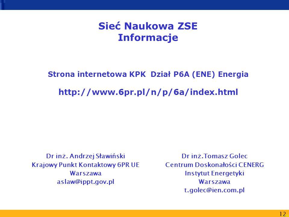 Sieć Naukowa ZSE Informacje