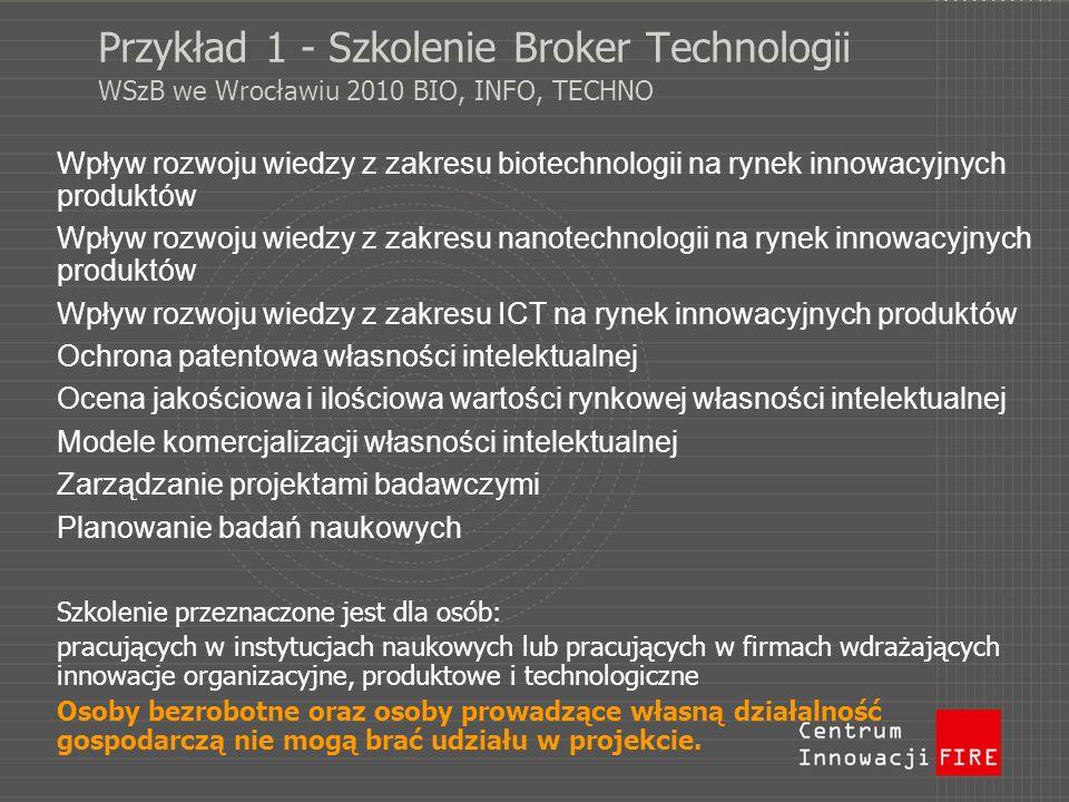 Przykład 1 - Szkolenie Broker Technologii WSzB we Wrocławiu 2010 BIO, INFO, TECHNO