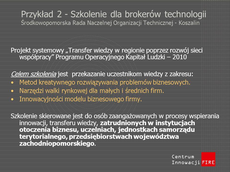 Przykład 2 - Szkolenie dla brokerów technologii Środkowopomorska Rada Naczelnej Organizacji Technicznej - Koszalin