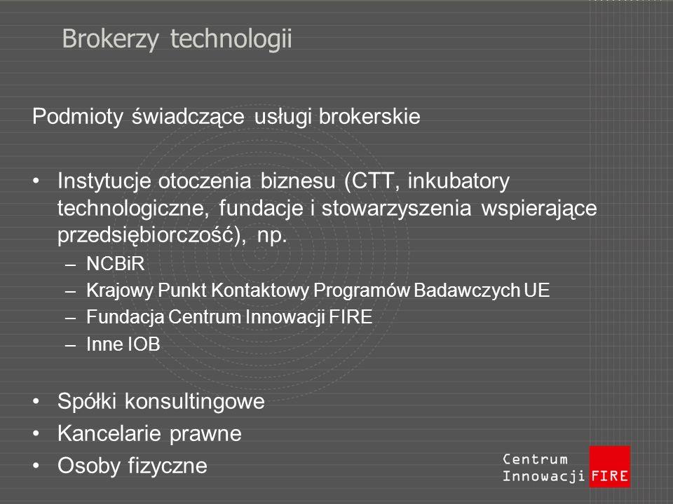 Brokerzy technologii Podmioty świadczące usługi brokerskie