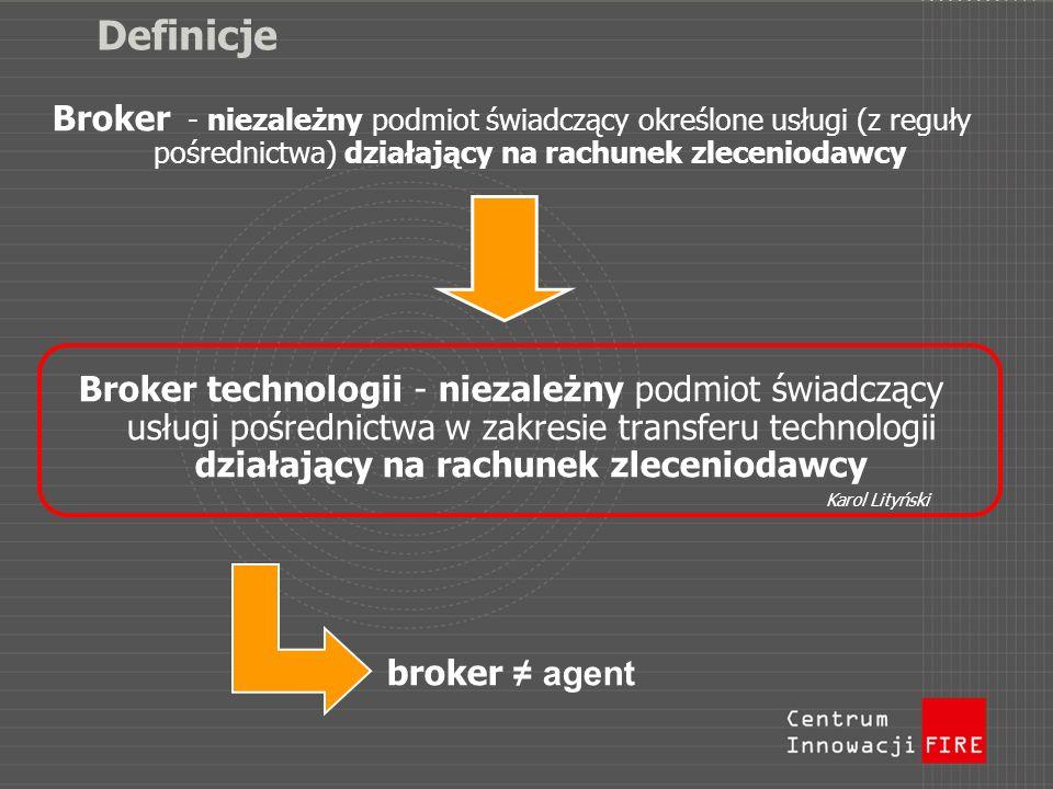 Definicje Broker - niezależny podmiot świadczący określone usługi (z reguły pośrednictwa) działający na rachunek zleceniodawcy.