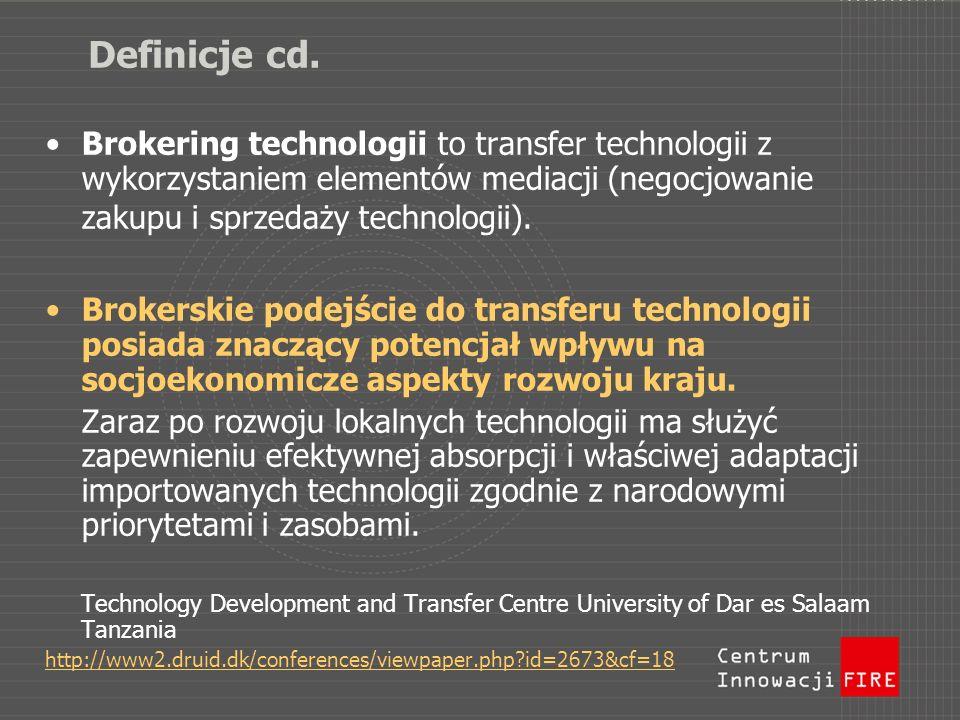 Definicje cd. Brokering technologii to transfer technologii z wykorzystaniem elementów mediacji (negocjowanie zakupu i sprzedaży technologii).