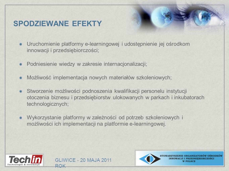 SPODZIEWANE EFEKTY Uruchomienie platformy e-learningowej i udostępnienie jej ośrodkom innowacji i przedsiębiorczości;