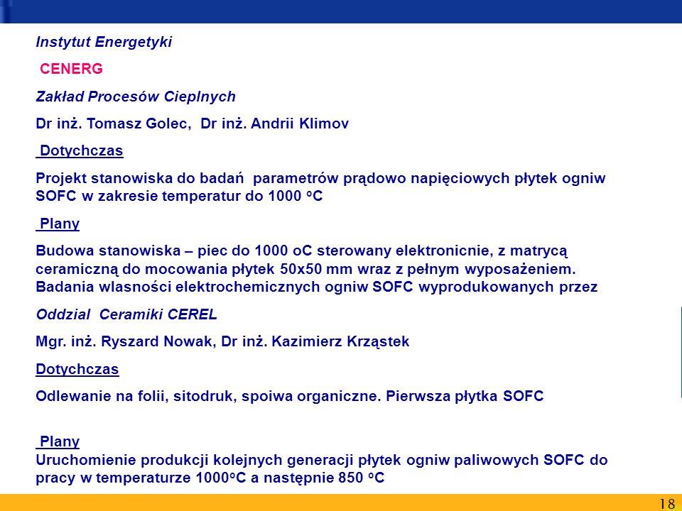 Instytut Energetyki CENERG. Zakład Procesów Cieplnych. Dr inż. Tomasz Golec, Dr inż. Andrii Klimov.