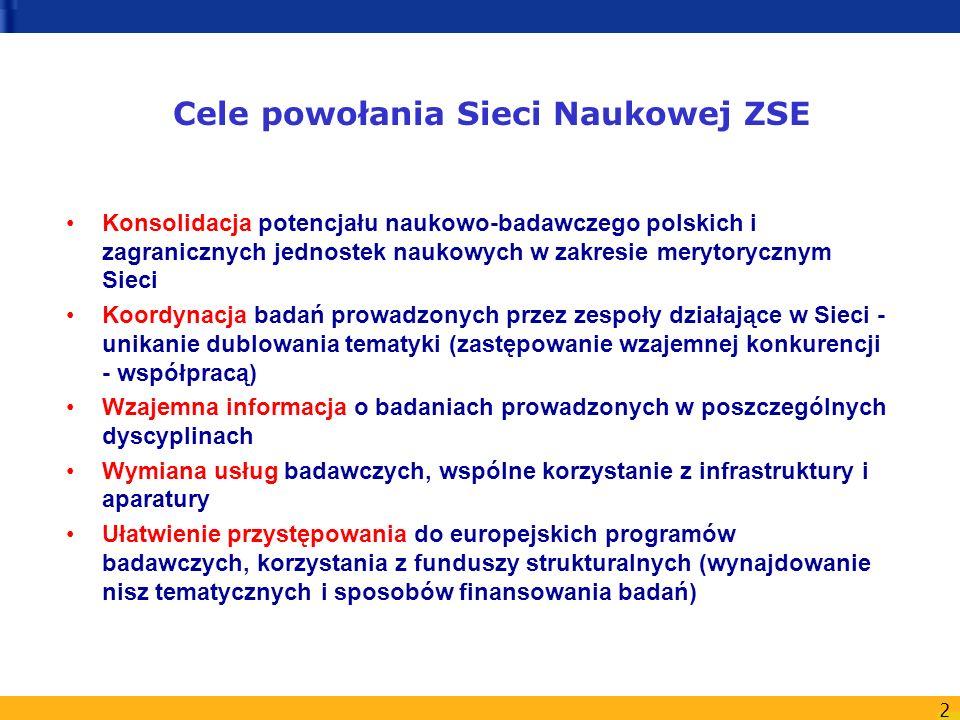 Cele powołania Sieci Naukowej ZSE
