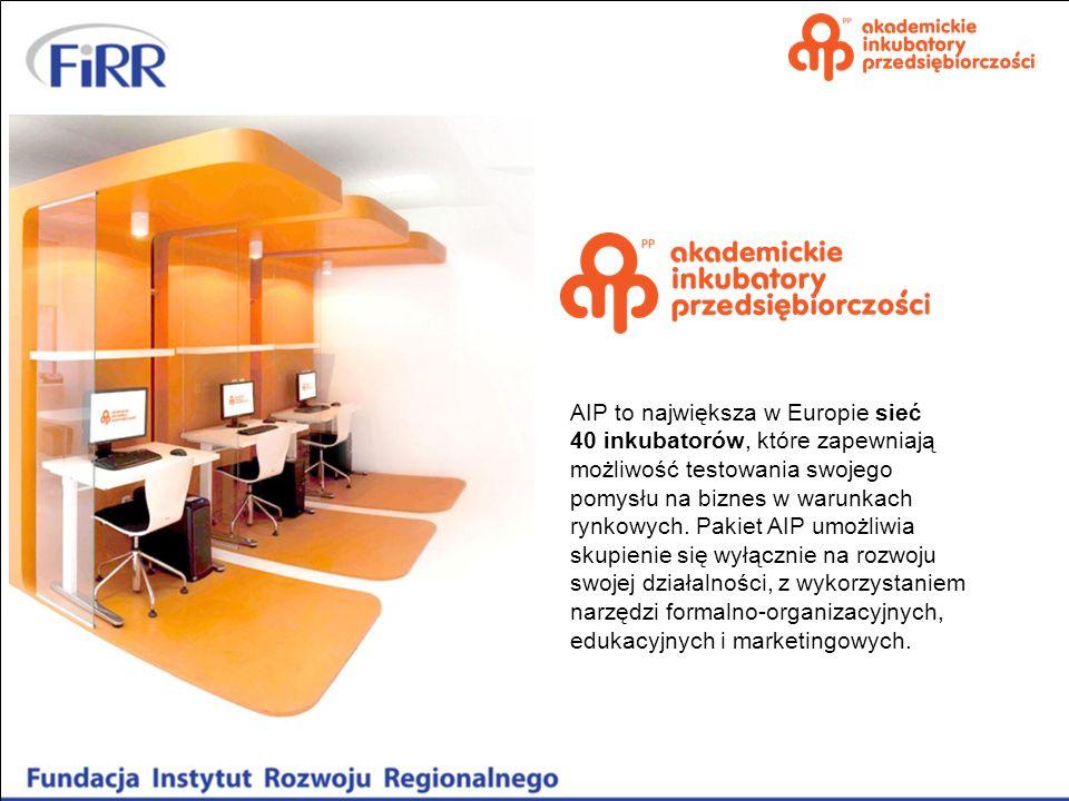 AIP to największa w Europie sieć 40 inkubatorów , które zapewniają możliwość testowania swojego pomysłu na biznes w warunkach rynkowych. Pakiet AIP umożliwia skupienie się wyłącznie na rozwoju swojej działalności, z wykorzystaniem narzędzi formalno-organizacyjnych, edukacyjnych i marketingowych.