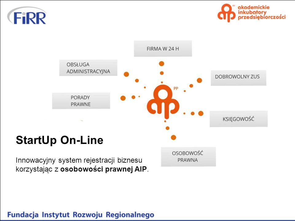 StartUp On-Line Innowacyjny system rejestracji biznesu korzystając z osobowości prawnej AIP.
