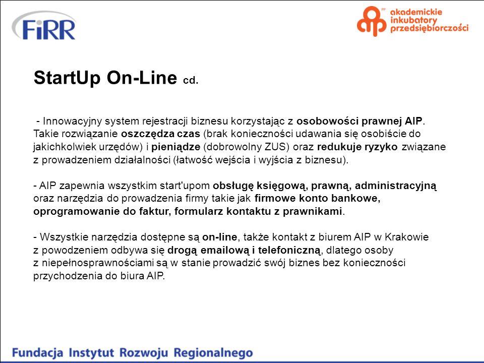 StartUp On-Line cd. - Innowacyjny system rejestracji biznesu korzystając z osobowości prawnej AIP.