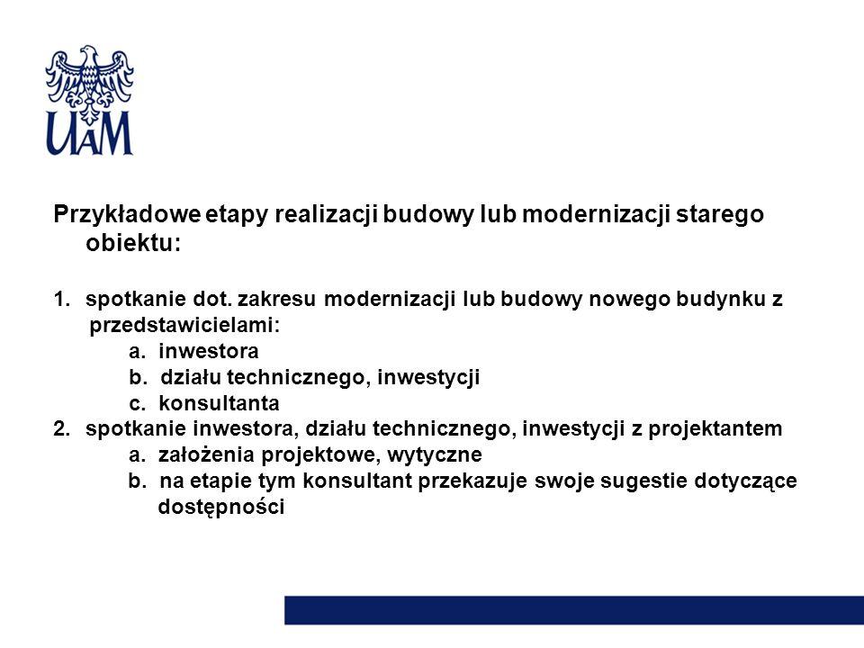 Przykładowe etapy realizacji budowy lub modernizacji starego obiektu: