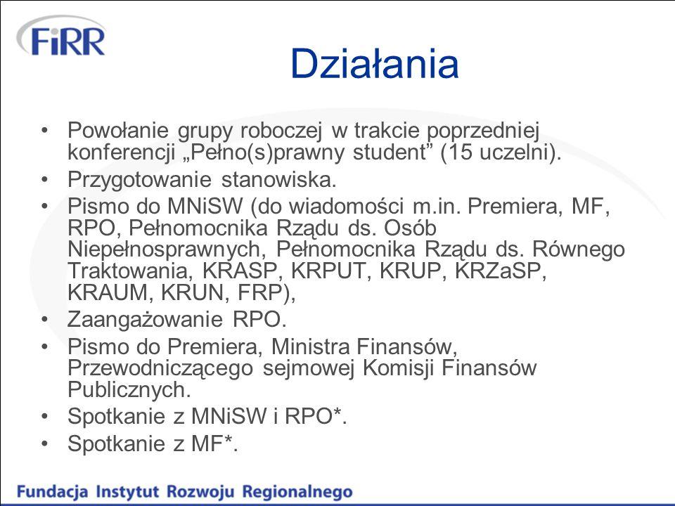 """Działania Powołanie grupy roboczej w trakcie poprzedniej konferencji """"Pełno(s)prawny student (15 uczelni)."""