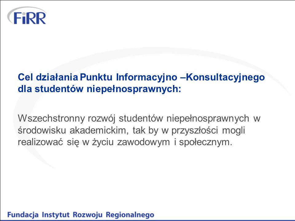 Cel działania Punktu Informacyjno –Konsultacyjnego dla studentów niepełnosprawnych:
