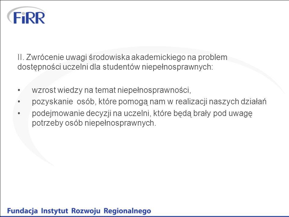 II. Zwrócenie uwagi środowiska akademickiego na problem dostępności uczelni dla studentów niepełnosprawnych: