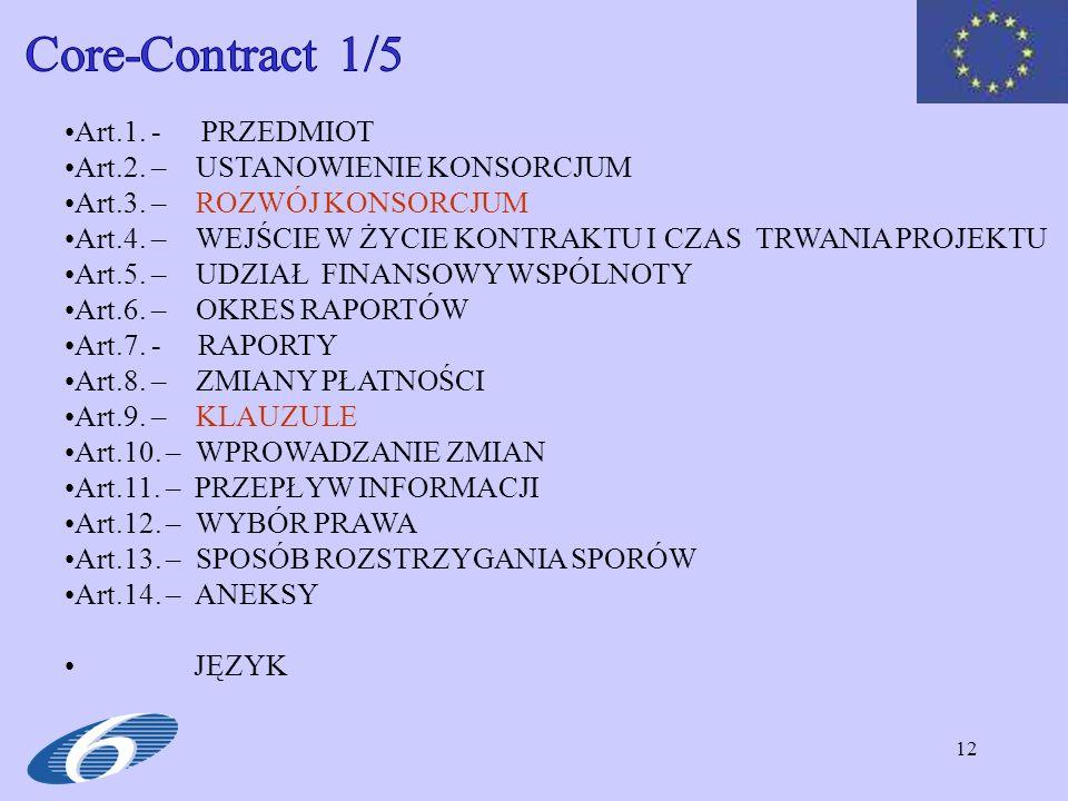 Core-Contract 1/5 Art.1. - PRZEDMIOT Art.2. – USTANOWIENIE KONSORCJUM
