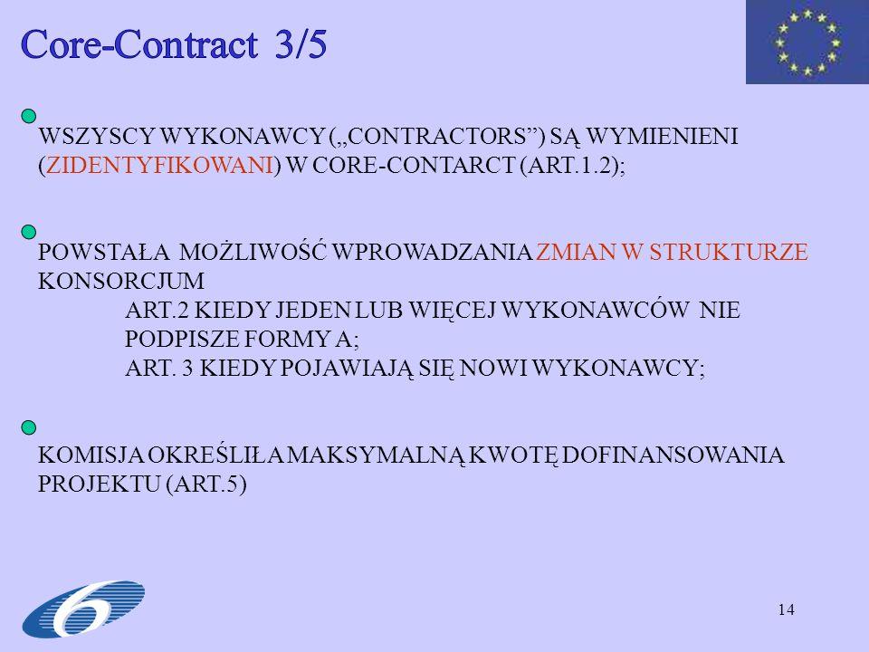 """Core-Contract 3/5 WSZYSCY WYKONAWCY (""""CONTRACTORS ) SĄ WYMIENIENI (ZIDENTYFIKOWANI) W CORE-CONTARCT (ART.1.2);"""