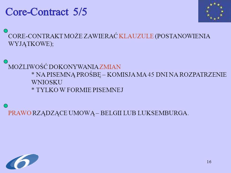 Core-Contract 5/5 CORE-CONTRAKT MOŻE ZAWIERAĆ KLAUZULE (POSTANOWIENIA WYJĄTKOWE); MOŻLIWOŚĆ DOKONYWANIA ZMIAN.