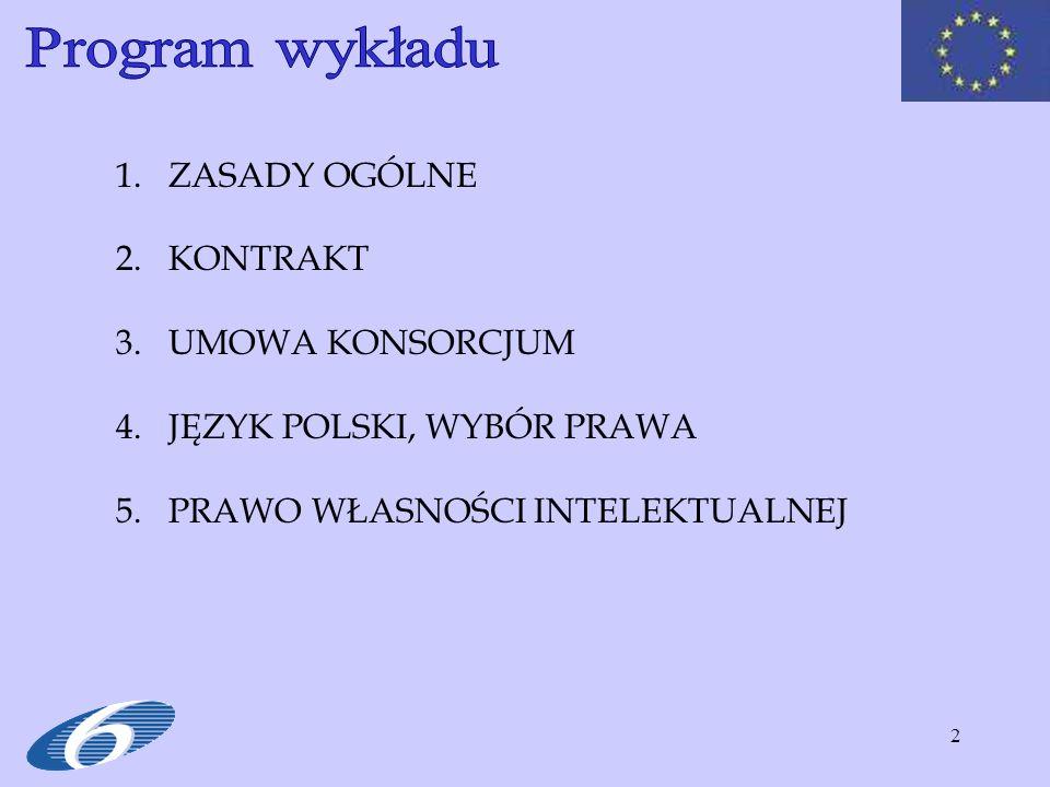 Program wykładu ZASADY OGÓLNE KONTRAKT UMOWA KONSORCJUM