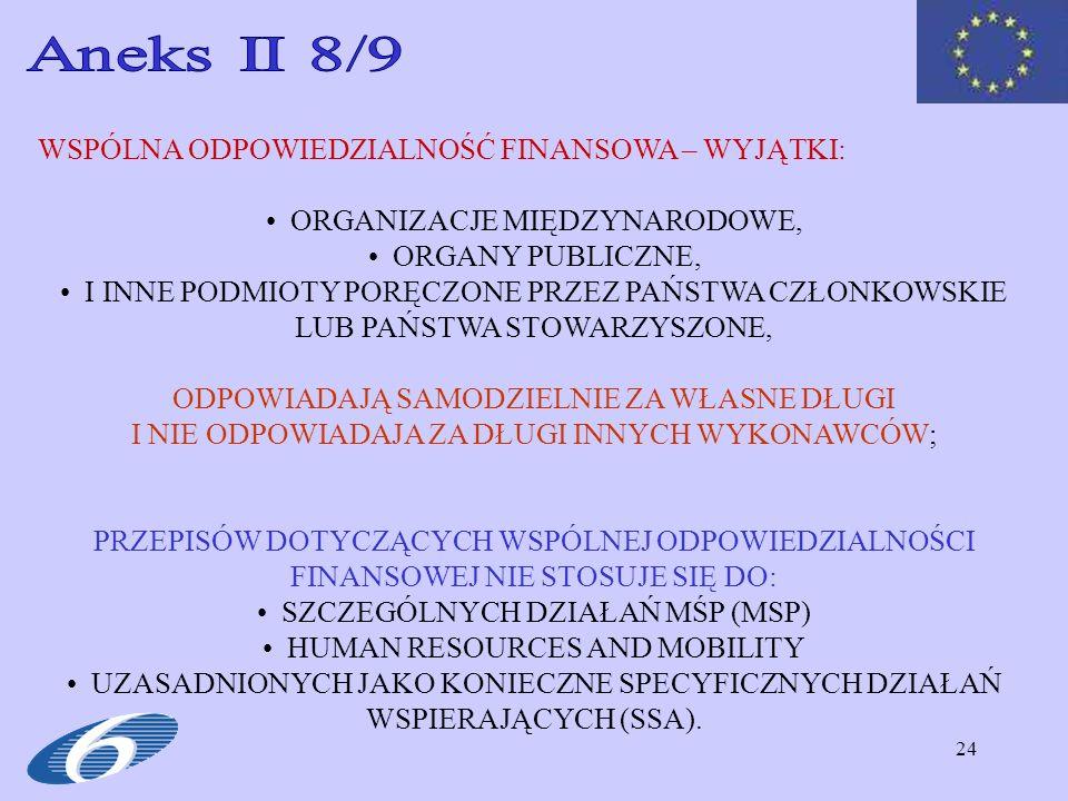 Aneks II 8/9 WSPÓLNA ODPOWIEDZIALNOŚĆ FINANSOWA – WYJĄTKI:
