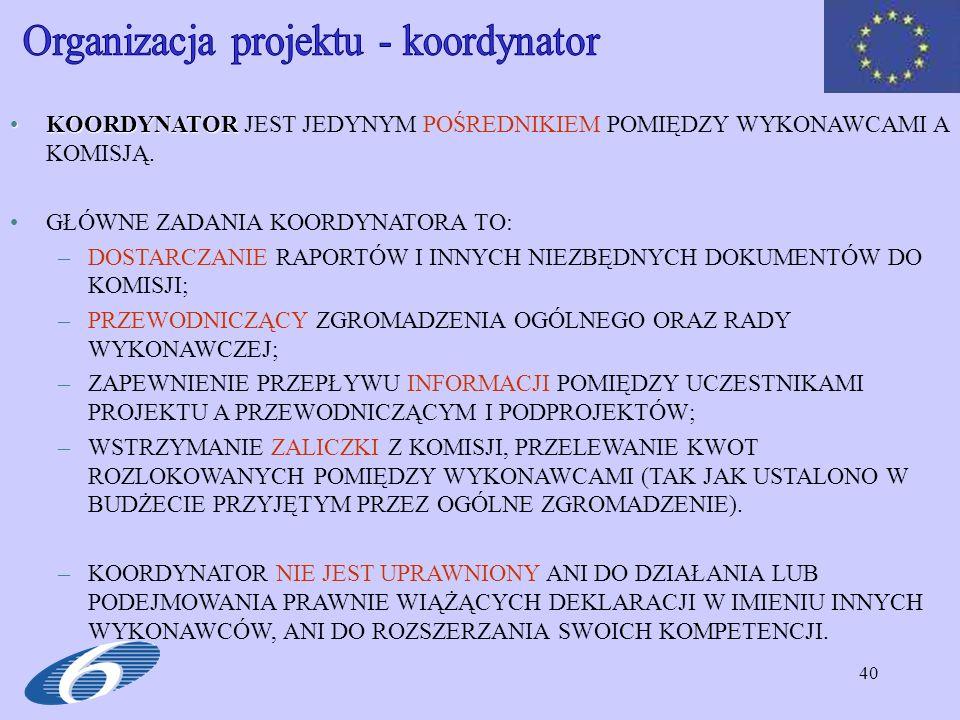 Organizacja projektu - koordynator
