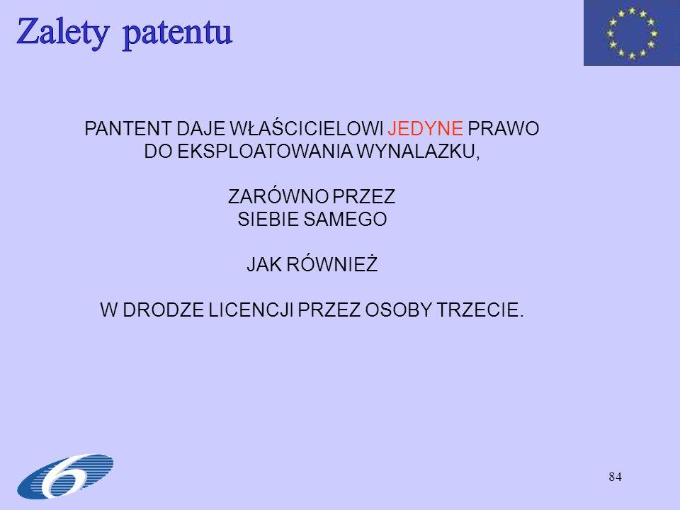 Zalety patentu PANTENT DAJE WŁAŚCICIELOWI JEDYNE PRAWO DO EKSPLOATOWANIA WYNALAZKU, ZARÓWNO PRZEZ.