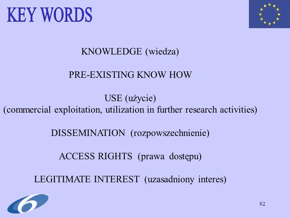 KEY WORDS KNOWLEDGE (wiedza) PRE-EXISTING KNOW HOW USE (użycie)