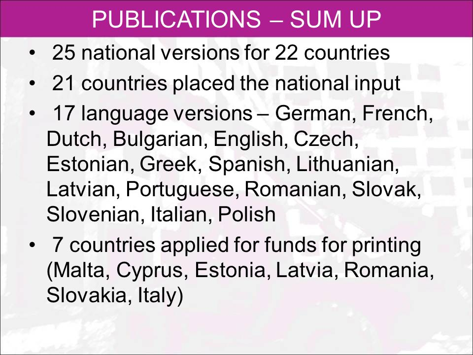 PUBLICATIONS – SUM UP 25 national versions for 22 countries