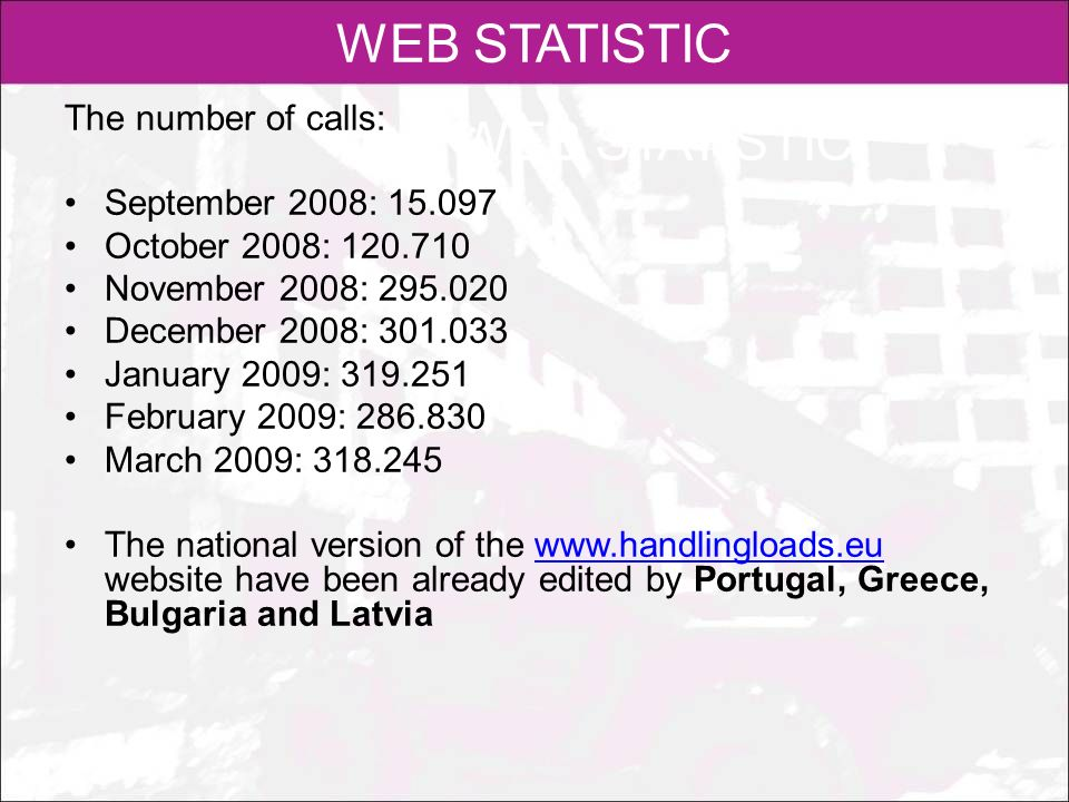 WEB STATISTIC WEB STATISTIC The number of calls: