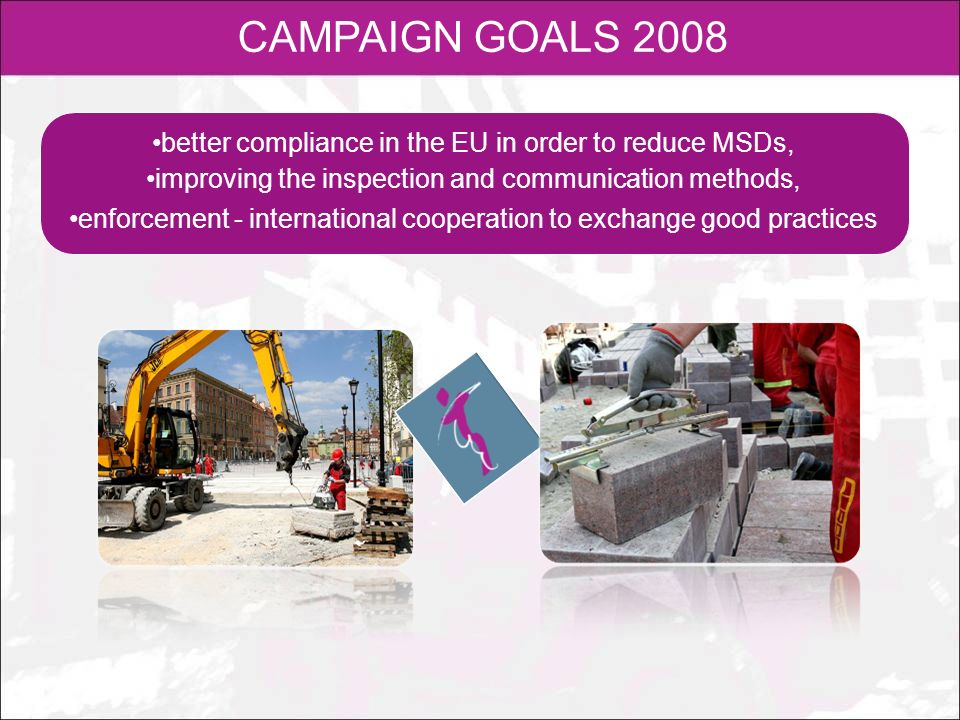 CAMPAIGN GOALS 2008better compliance in the EU in order to reduce MSDs, improving the inspection and communication methods,