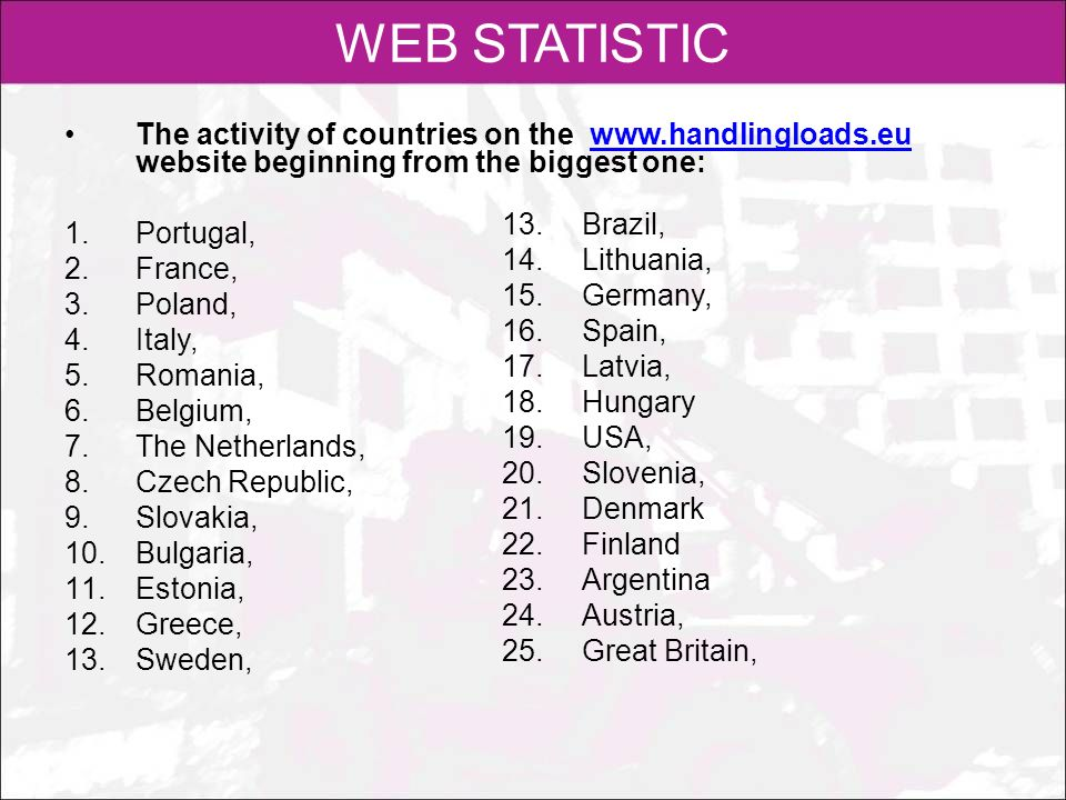 WEB STATISTIC The activity of countries on the www.handlingloads.eu website beginning from the biggest one:
