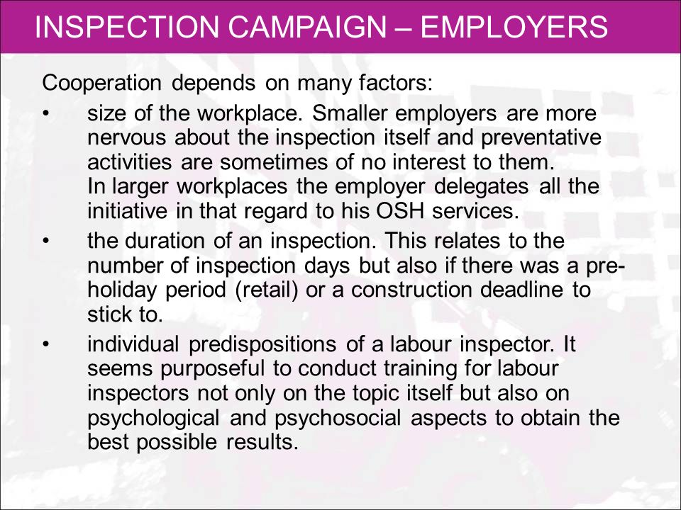 INSPECTION CAMPAIGN – EMPLOYERS