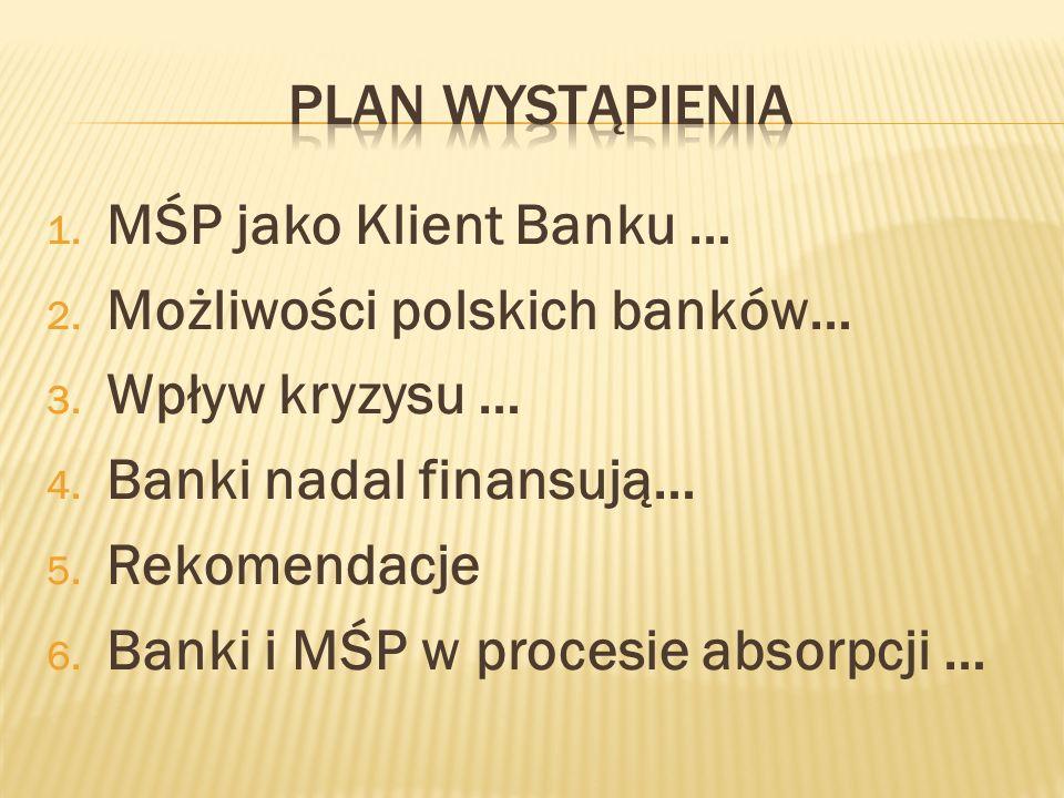 Plan wystąpieniaMŚP jako Klient Banku … Możliwości polskich banków… Wpływ kryzysu … Banki nadal finansują…