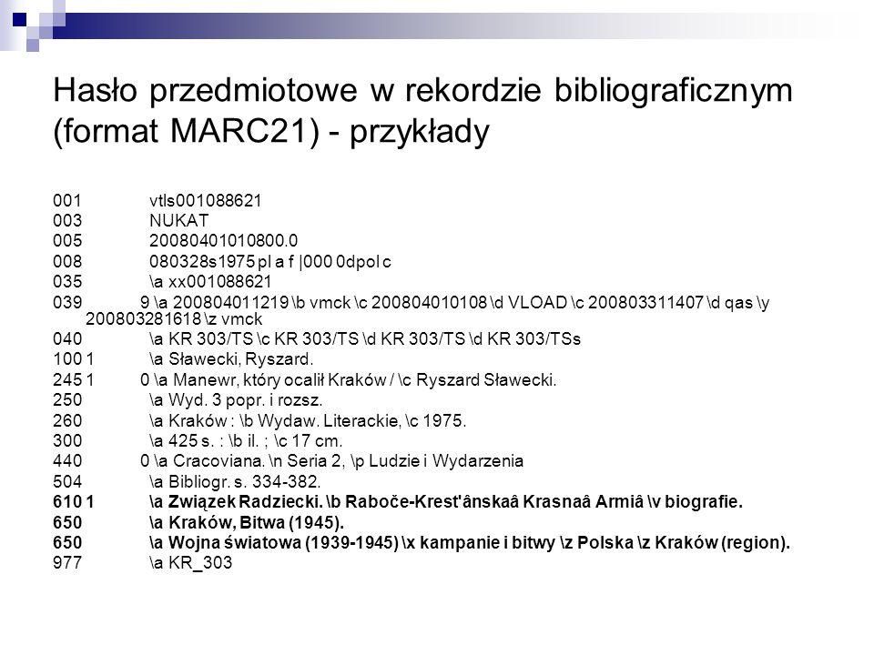 Hasło przedmiotowe w rekordzie bibliograficznym (format MARC21) - przykłady