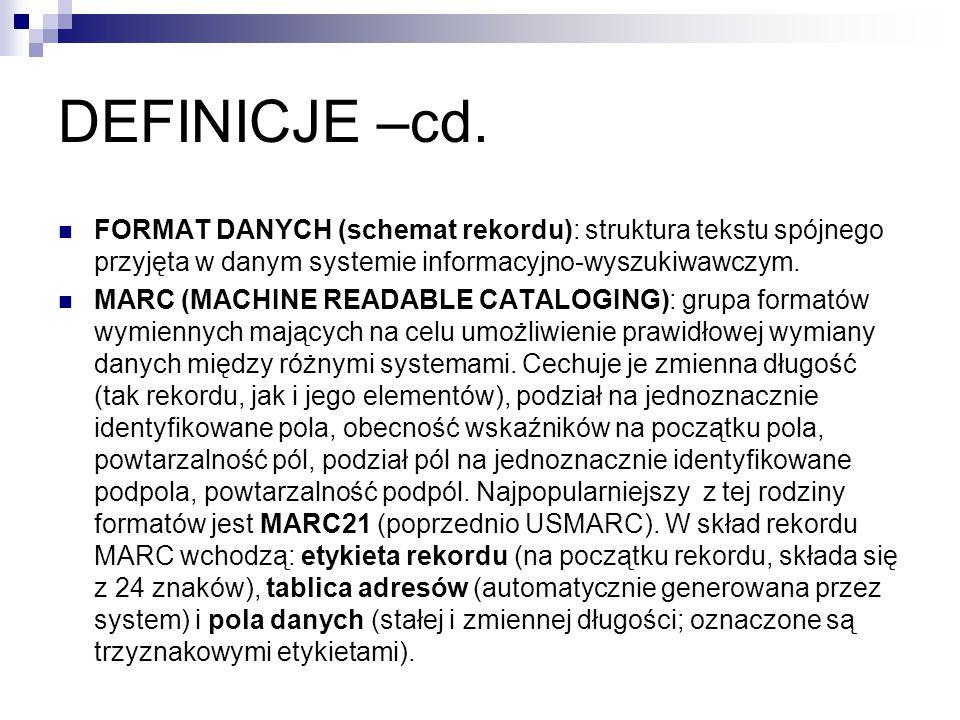 DEFINICJE –cd. FORMAT DANYCH (schemat rekordu): struktura tekstu spójnego przyjęta w danym systemie informacyjno-wyszukiwawczym.